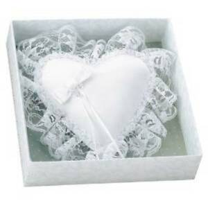 C. R. Gibson Wedding Collections White Lace Heart Ring Bearer Pillow, NIB