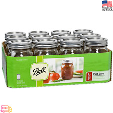 12 PACK 16 oz Glass Mason Pint Jars with Lids and Bands Regular Mouth