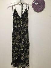 Ladies party dress jr sz 9 black beige swirls lined ties neck sexy Rampage 165