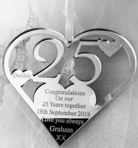 OUR SILVER WEDDING ANNIVERSARY KEEPSAKE GIFT, PERSONALISED 25 YEARS MAN TO WIFE