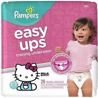 Pampers Easy Ups Training Pants Pull On for Girls Size 4 (2T-3T) 26 ea