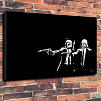 "Pop Art Banksy Style Pulp Fiction Star Wars Print A1.30""x20""Deep 30mm Picture"
