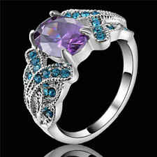 Women's Purple Amethyst Wedding Ring CZ Band Gift 18KT White Gold Filled Size 9