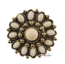 Vintage Bronze Pearl Daisy Sunflower Flower Jewellery Adjustable Ring