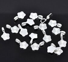 5 Glue on Bails 11mm Flower Pendant Hanger Shiny Silver Plated 18x11mm