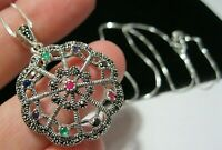 Sterling Silver Vintage Style Deco Marcasite Rainbow Crystal Pendant NECKLACE