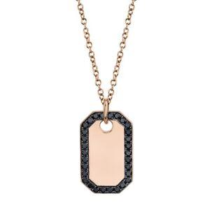 14K Rose Gold Black Diamond Dog Tag Pendant Necklace Unisex Men's Women's