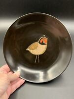 """Vintage Couroc of Monterey Plate 7 3/4"""" Quail Black w/Inlay Made In Monterey, CA"""