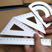 4Pcs Drawing Stationery Supplies Set Square Triangle Ruler tractor Students,