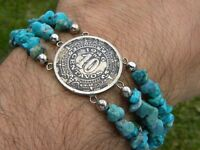 Bracelet 1946 Mexican Aztec  calendar coin centavos turquoise stones beads