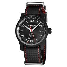 Mont Blanc Men's Timewalker Black Dial Leather Strap Automatic Watch 115360