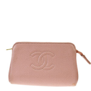 Auth CHANEL CC Pouch Cigarette Case Caviar Skin Leather Pink Vintage 09MH119