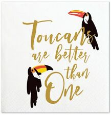 Set of 20 Tropical Toucans are Better than One Cocktail Napkins w Gold Accents