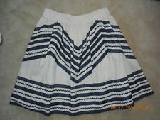 New ANTHROPOLOGIE - GIRLS FROM SAVOY Lace + Ribbons Mexican Skirt 12 L Blue