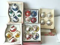 LOT OF 5 BOXES Glitter Glass Tree Ornaments Franke Liberty Bell Pyramid VINTAGE