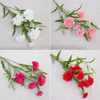 Artificial Carnations Silk Flowers Bouquets Fake Floral Party Wedding Decor