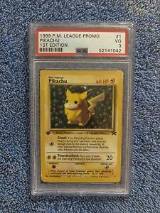 1999 P.M. League Promo Pikachu 1st Edition Error Card PSA 3 POP 2