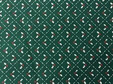 HOLLY ON GREEN COTTON FABRIC  BY THE YARD