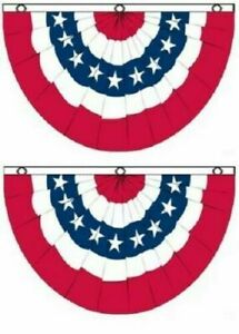 (2 PACK) 3x5 ft American USA Bunting Flag Fan Parade Banner 5X3 FAN