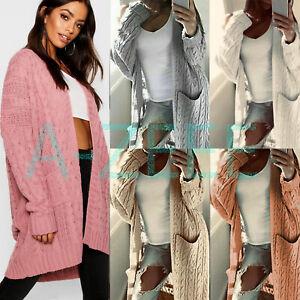 Women' Chunky Knit Sweater Open Front Pocket Coat Long Cardigan Coat Tops Jacket