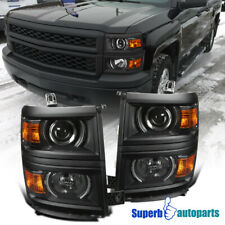 For 2014-2015 Chevy Silverado 1500 Projector Headlights Signal Black Cover Trim