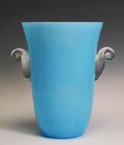 Blue Opaline Glass France French Vase Clear Applied Handles