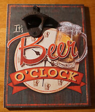 Wall Mounted Bottle Opener BEER O'CLOCK Mug Bar Pub Tavern Home Decor Sign NEW