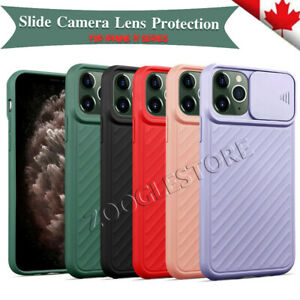 For iPhone 11 Pro Max 12 Pro 6 7 8 Plus XS XR Silicone Case Camera Lens Slide