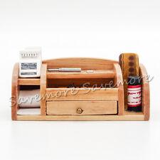 1:12 Wooden Stationery Box Desk Organiser Set Miniature w/ Drawer Dollhouse Gift