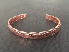 VINTAGE 1980'S DEAD STOCK HANDCRAFTED BRAIDED COPPER MENS ARTISAN CUFF BRACELET