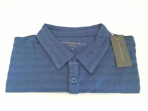 John Varvatos Star USA Men's Short Sleeve Striated 3 Stars Polo Shirt MEDIUM NEW