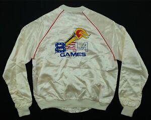 Rare VTG Los Angeles 1984 Olympic Games USA Torch Full Zip Satin Jacket 80s SZ S