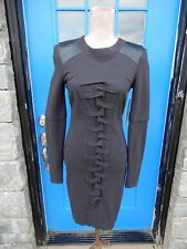 NWT NICOLE MILLER Sz 4 Tidal Pleat Sheath Dress Black Long Sleeve Leather Detail
