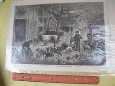 Vintage Print,AMERICAN FARM,Frosty Morning,Harpers,Jan 1877