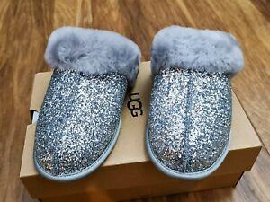JOHN LEWIS UGG Scuffette II Cosmos Sheepskin Slippers Silver 6 NEW SEALED RP £90