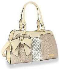 Julia and Michae Beige l Designer Bow and Rhinestone  Patent Handbag