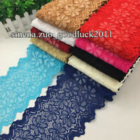 1YD, Flower Stretch Lace Trim Ribbon Elastic fabric 18cm wide Sewing Craft FL272