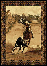 "Country Black Cowboy Carpet 5x8 Western Horse Area Rug : Actual 5' 3"" x 7' 2"""