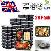 20 Meal Prep Food Containers Plastic Lunch Box Stackable Lids Microwave BPA Free