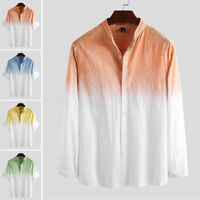 UK Mens Cotton Linen Casual Loose Blouse Long Sleeve Button Down Shirts Tops Tee