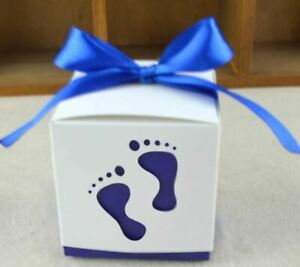 10x Baby Feet Baby Shower Favor BLUE/WHITE Decor Party Gift Boxes Bags USA