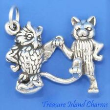 Owl And Pussycat 3D .925 Solid Sterling Silver Charm Pendant Cat MADE IN USA