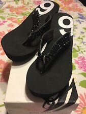 Nine West Black Wedge Sandals 9 New With Box