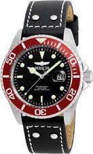 New Mens Invicta 22073 Pro Diver Black Leather Strap Watch