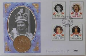 (SHP) 40th Anniversary of Coronation of Queen Elizabeth II £2 Coin + Stamps 1993