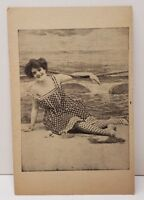 Victorian Woman In Bathing Suit Photo Print Vintage Postcard C4