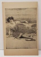 Victorian Women In Bathing Suit Photo Print Vintage Postcard C4