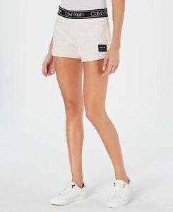 CALVIN KLEIN Performance cotton Logo Print Women's Shorts - Peach - XL