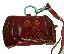 Real Leather Coin Purse,Red Elephant Face Cover,Wrist strap/Magnetic Closure,