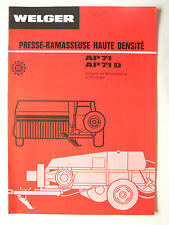 Prospectus  Presse WELGER   AP 71 &  AP 71 D      catalogue brochure tracteur